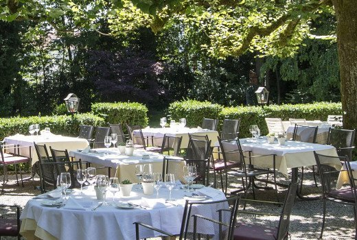Appearance of the garden with prepared tables